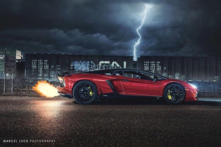 Ferrari F12 Hd Wallpapers Lamborghini Aventador Flaming Exhaust Battles Lightning