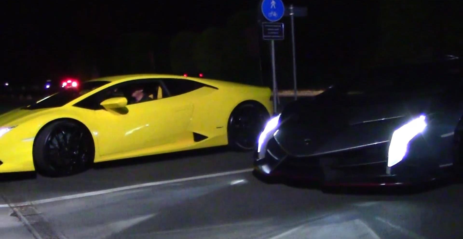 Lamborghini Veneno Roadster Wallpaper Hd Lamborghini Veneno And Huracan Race On Italy S Streets At