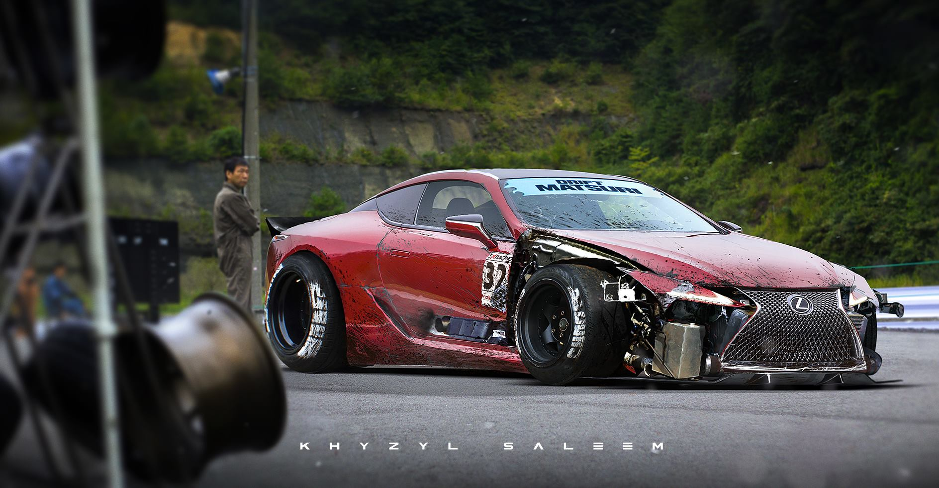 Ls 3d Cartoon Art Wallpaper Lexus Lc 500 Drift Car Rendering Follows The Story Of The