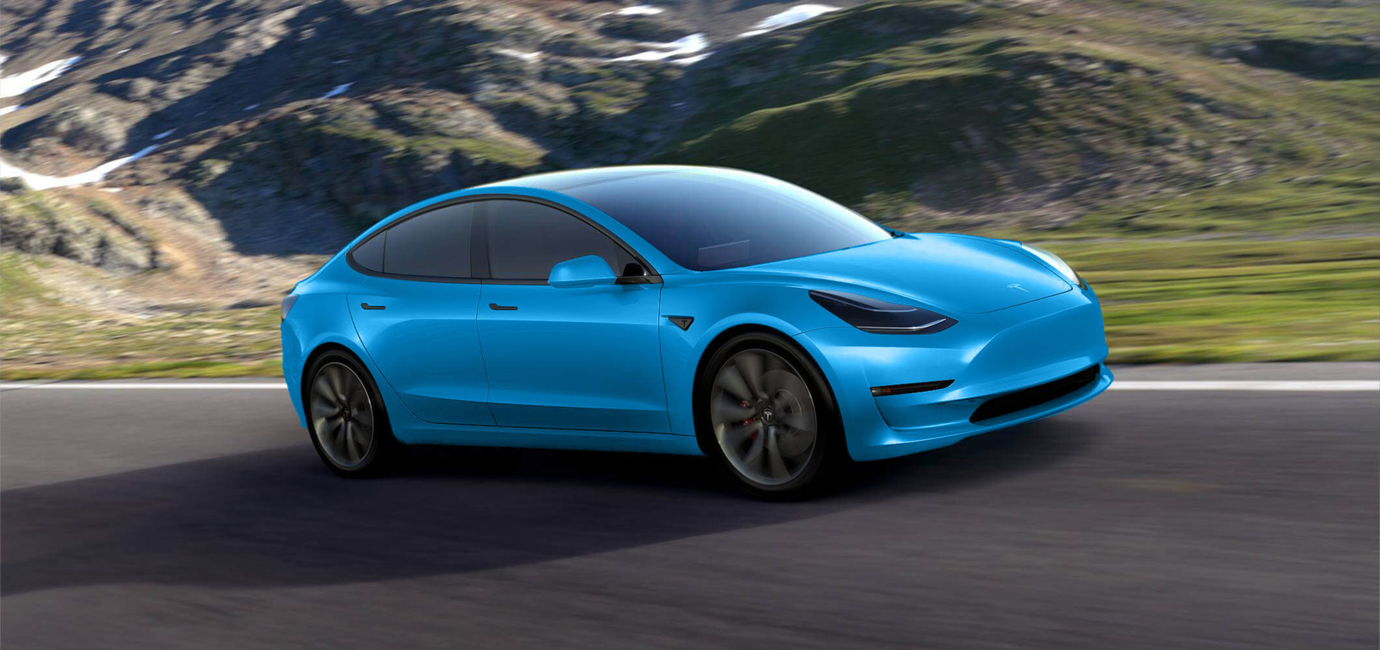 Blue Model Tesla Model 3 Gets Rendered In Dozens Of Colors Looks Good In All