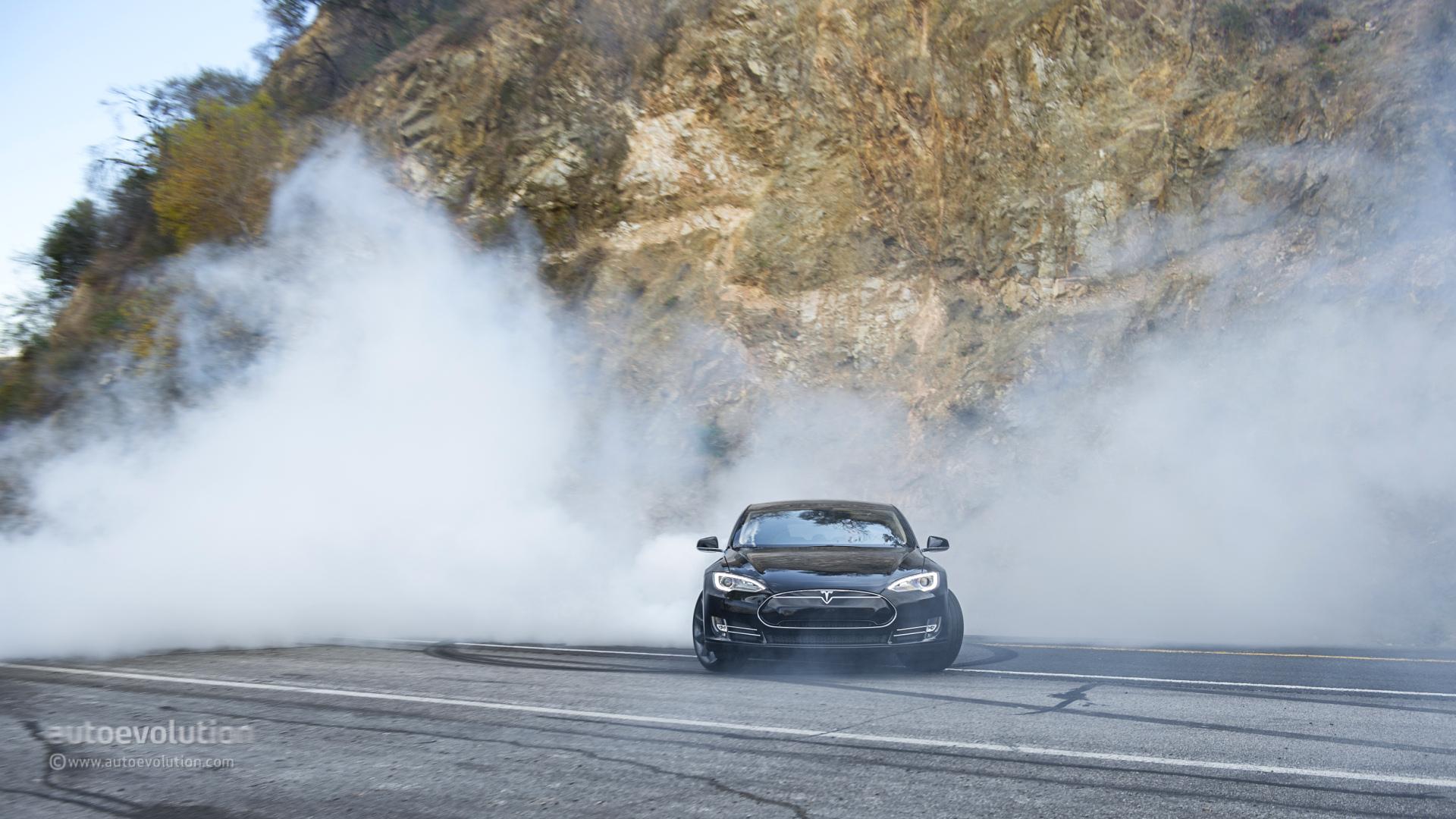Car Throttle Wallpaper Tesla Model S Doing Monster Burnouts Hd Wallpapers