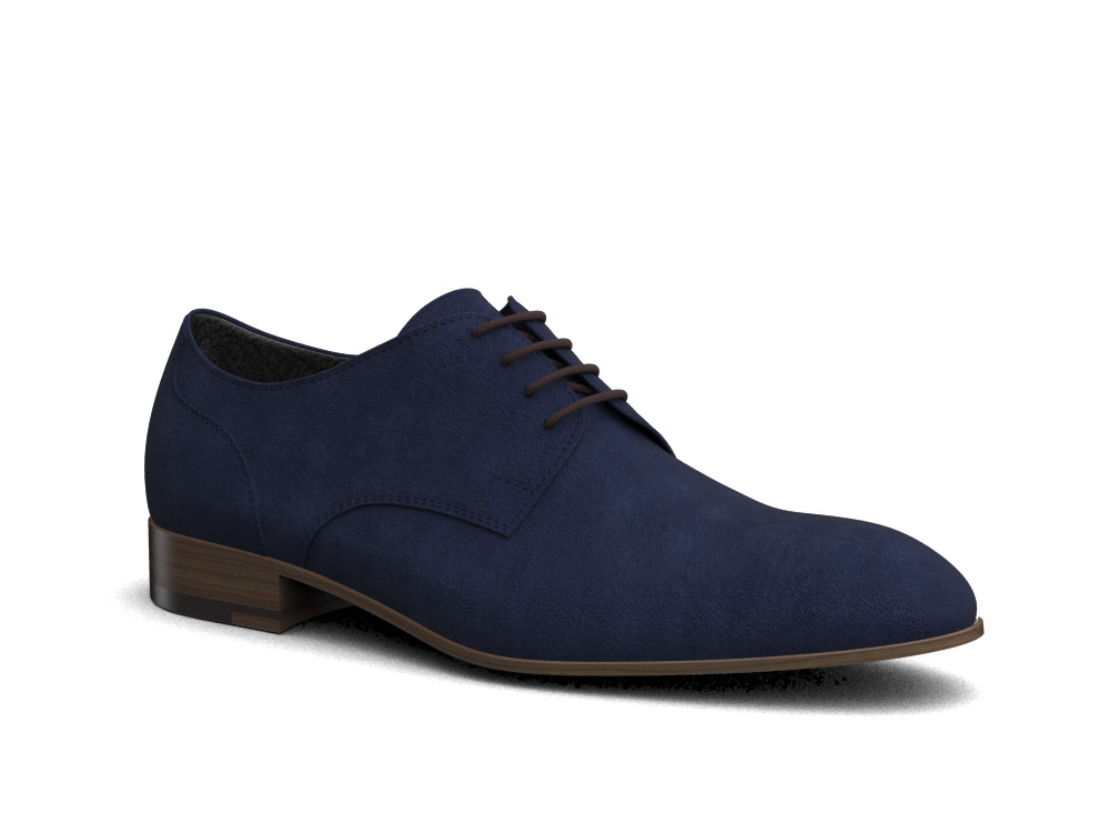 Navy Suede Men Derby Shoes Dis