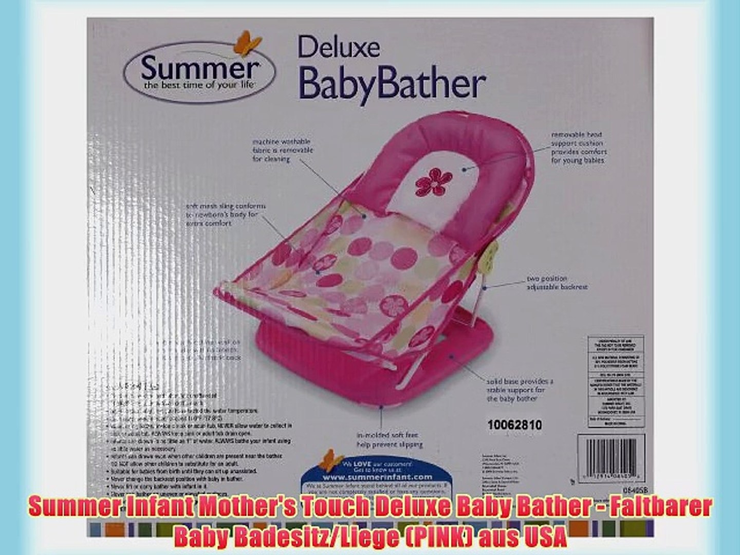 Summer Infant Mother S Touch Deluxe Baby Bather Faltbarer Baby Badesitz Liege Pink Aus Video Dailymotion