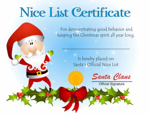 Santa Claus Certificate Template – Santa Claus List Template