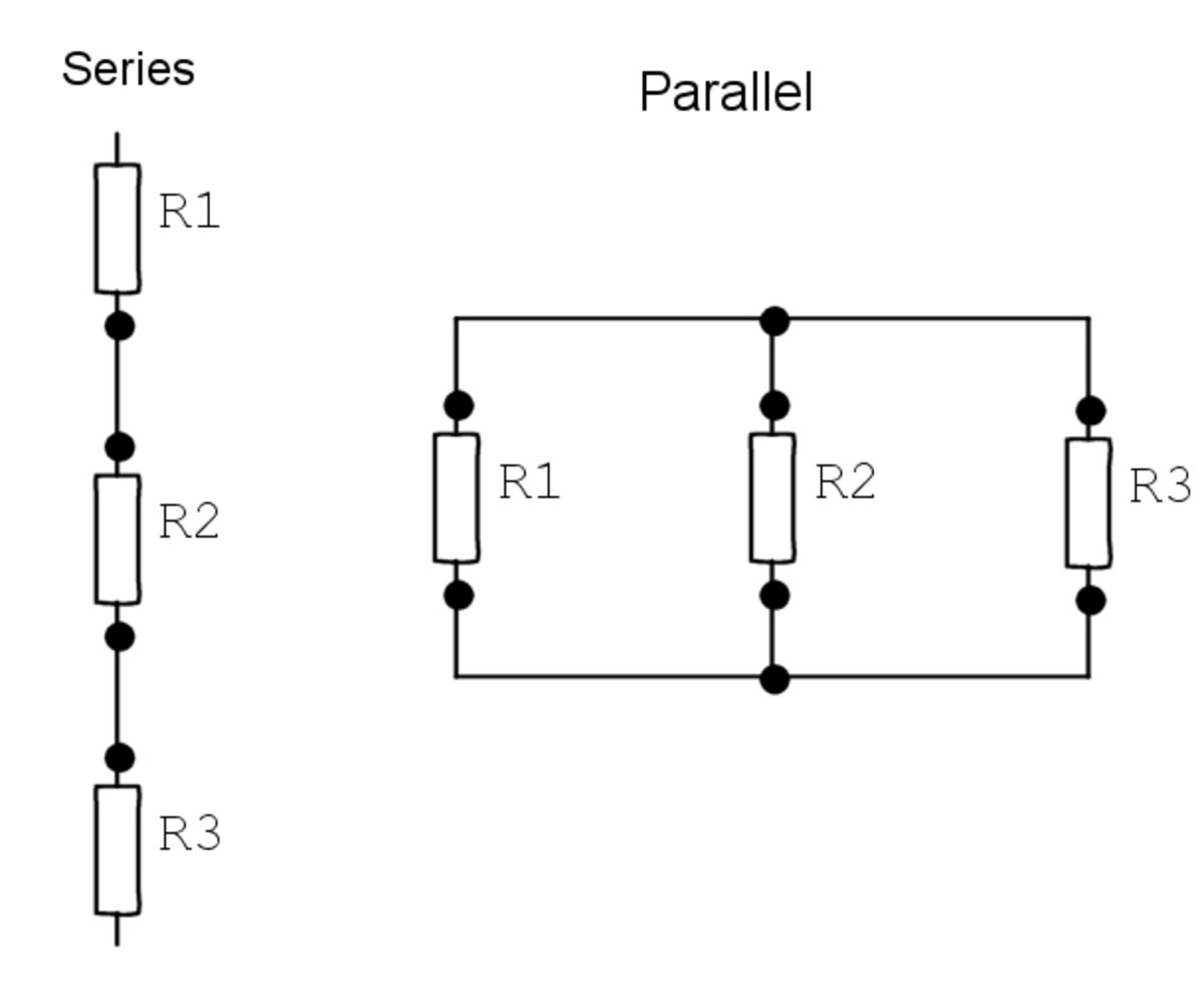 in parallel or in a series setup in a circuit