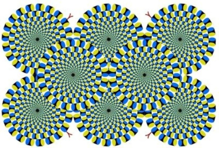 "The original ""Rotating Snakes"" optical illusion was created by Akiyoshi Kitaoka in 2003."