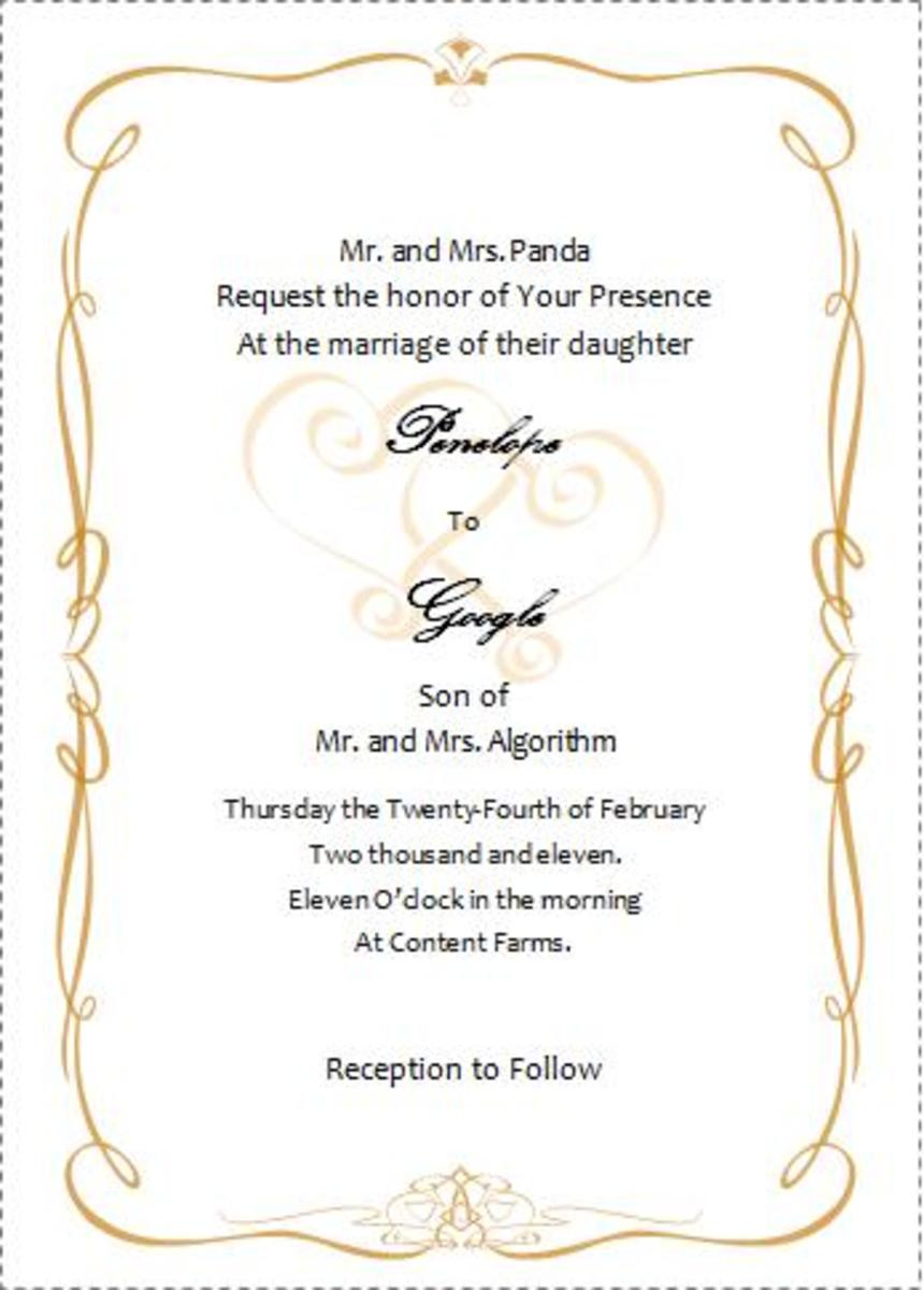 invitation card template word, Wedding invitation
