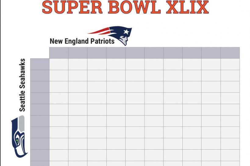 Super Bowl 2015 Squares Printable Boxes Document For Office Pool