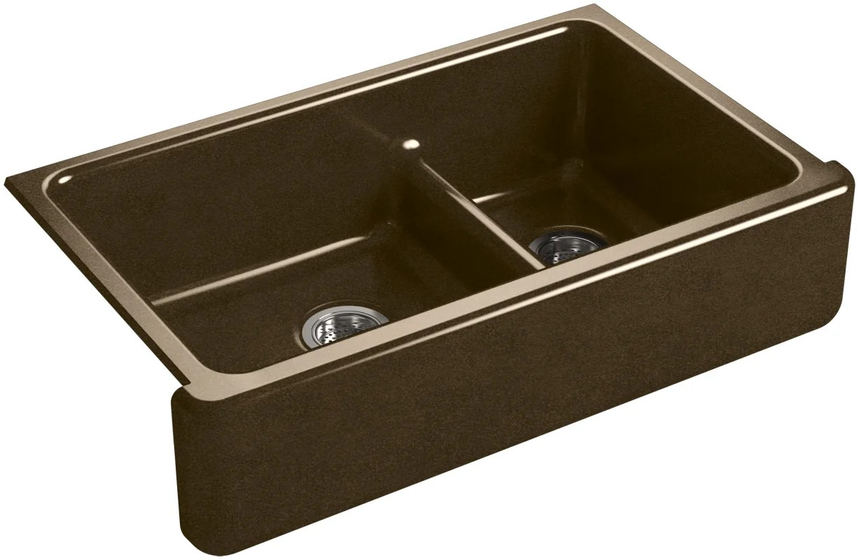 Kohler Whitehaven Farmhouse Sink Accessories Kohler K 6427 White Whitehaven 35 11 16 Quot Double Basin