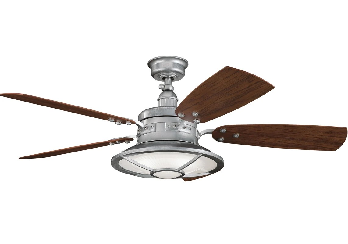 Long Blade Ceiling Fan Kichler 310102gst Galvanized Steel 44 Quot Outdoor Ceiling Fan