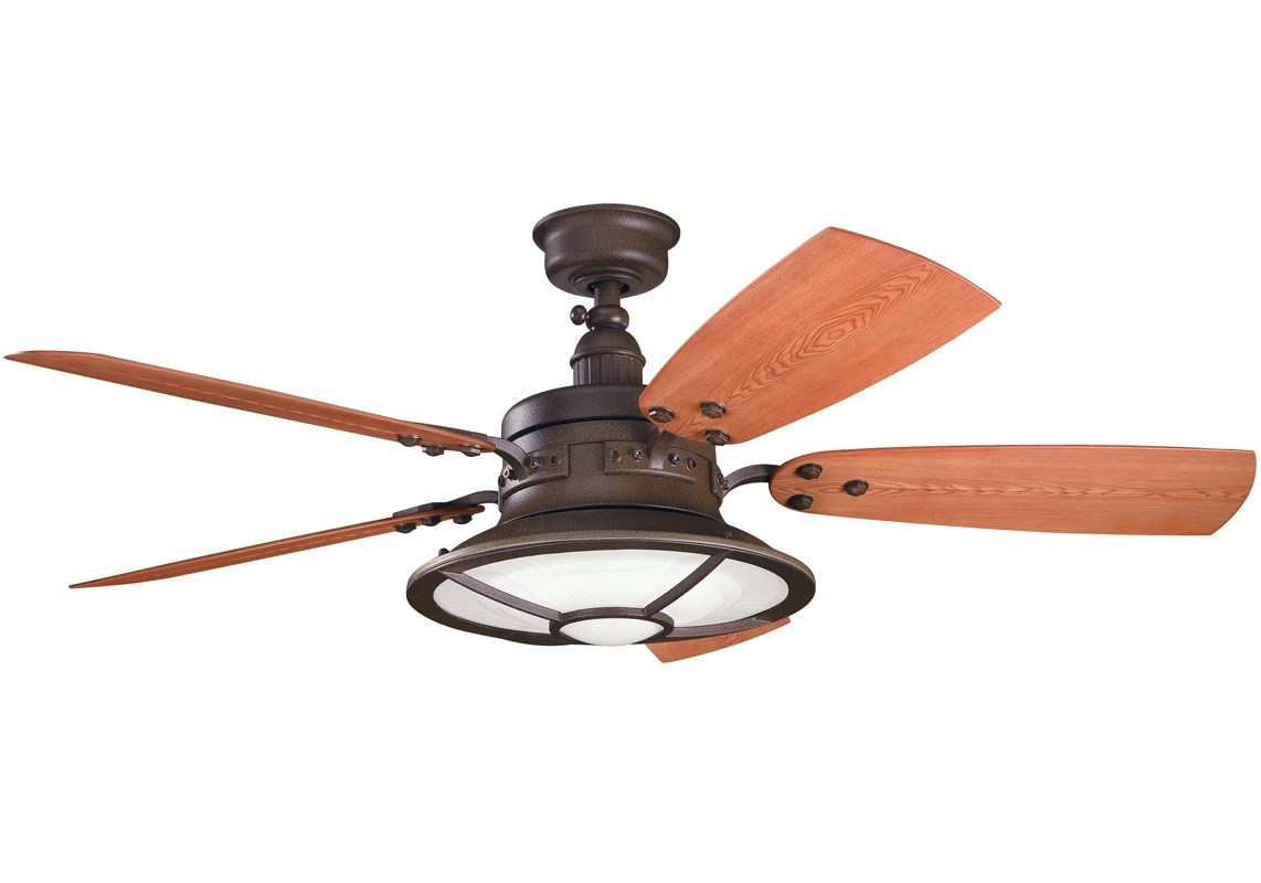 Long Blade Ceiling Fan Kichler 310102tzp Tannery Bronze Powder Coat 44 Quot Outdoor