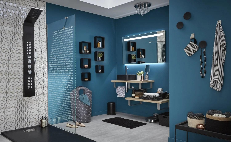 Salle De Bain Moderne Bleu Et Gris
