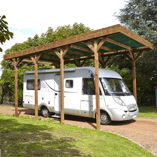 Store Banne Pour Camping Car Occasion Carport Bois Camping Car 1 Voiture, 28.6 M² | Leroy Merlin