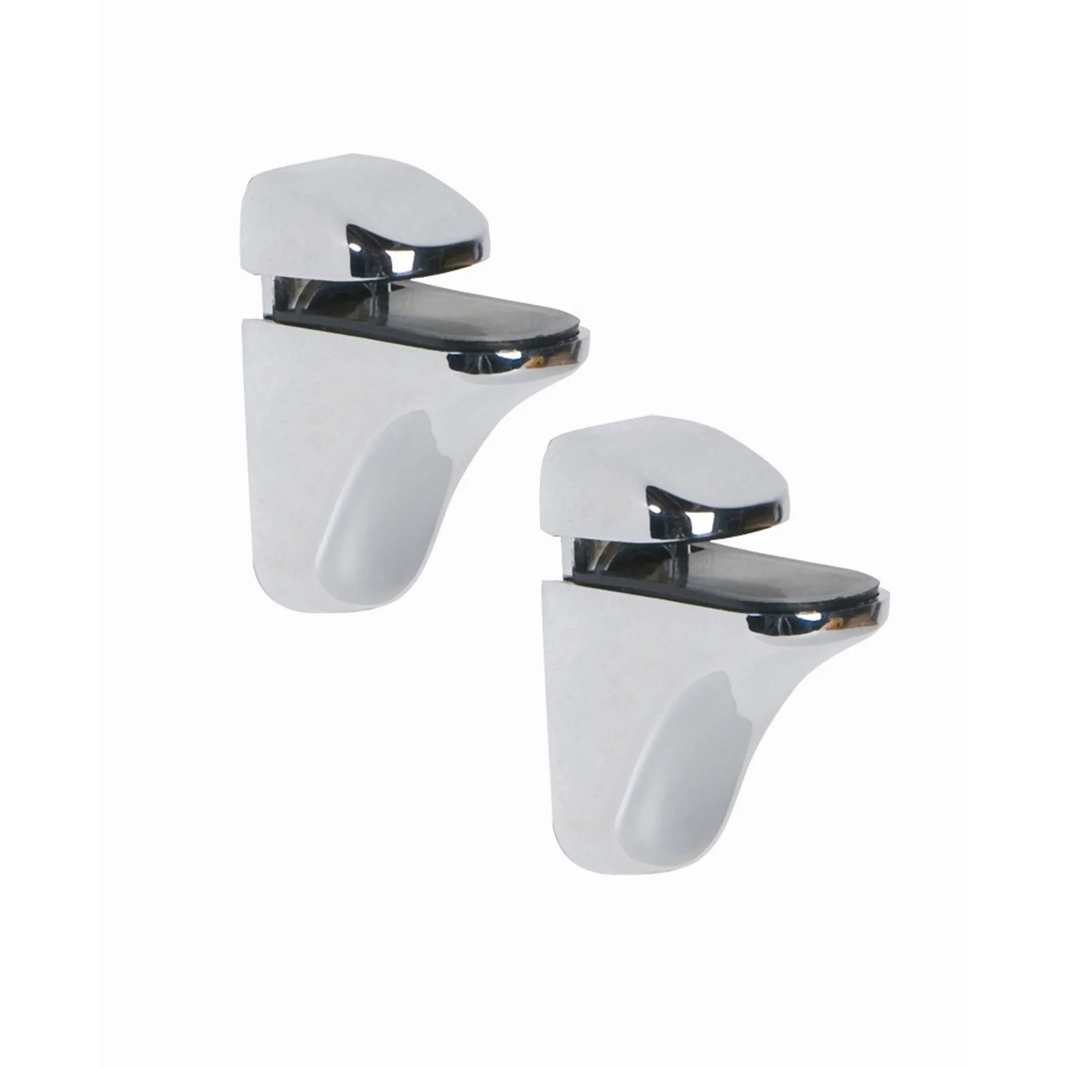 Tablette Salle De Bain Verre Leroy Merlin Lot De 2 Supports Tablette Pince Chromé Brillant