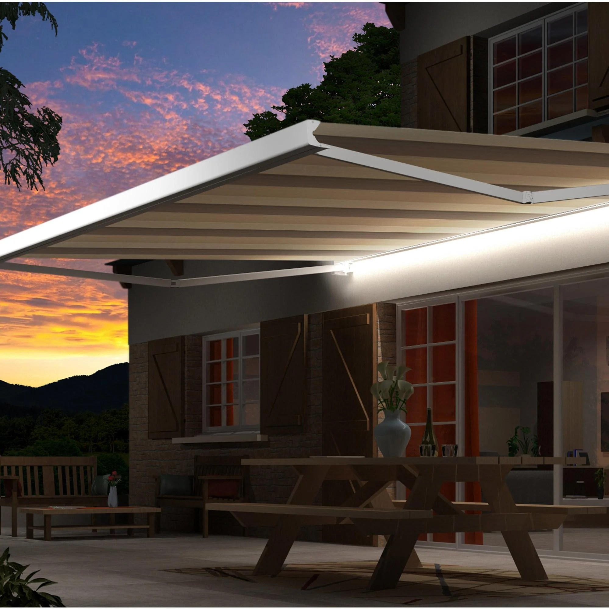 Store Banne 3.5 Store Banne Motorisé 4 X 3 5 M Led Villette Naturel Loft Xl Toile Acrylique