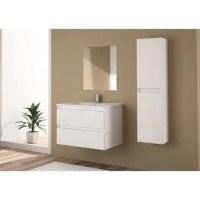 Meuble sous-vasque + miroir l.70 x H.60 x P.46 cm, Snow ...
