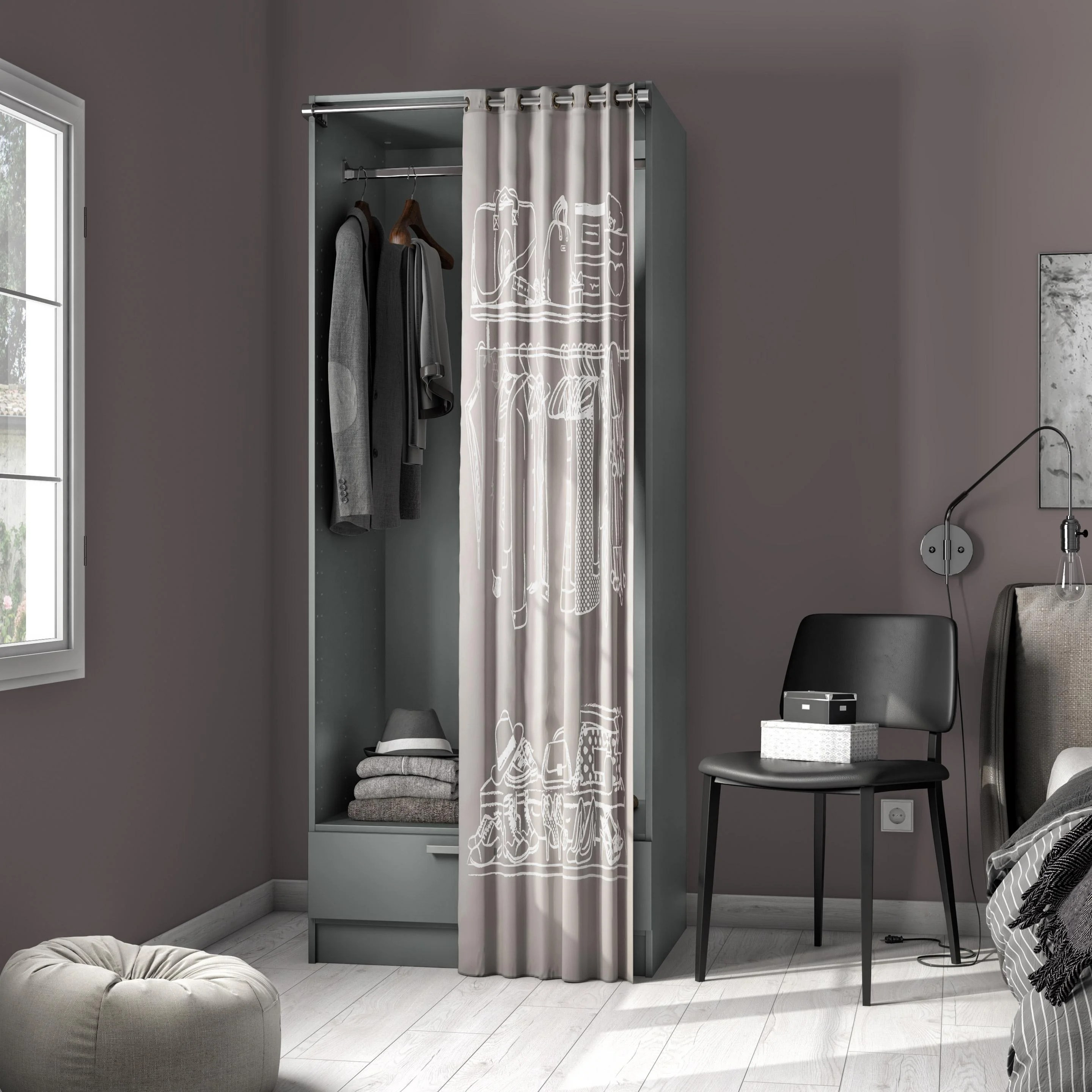 Dressing 200 Cm Dressing Gris Spaceo Home H 200 X L 80 X P 60 Cm Leroy Merlin