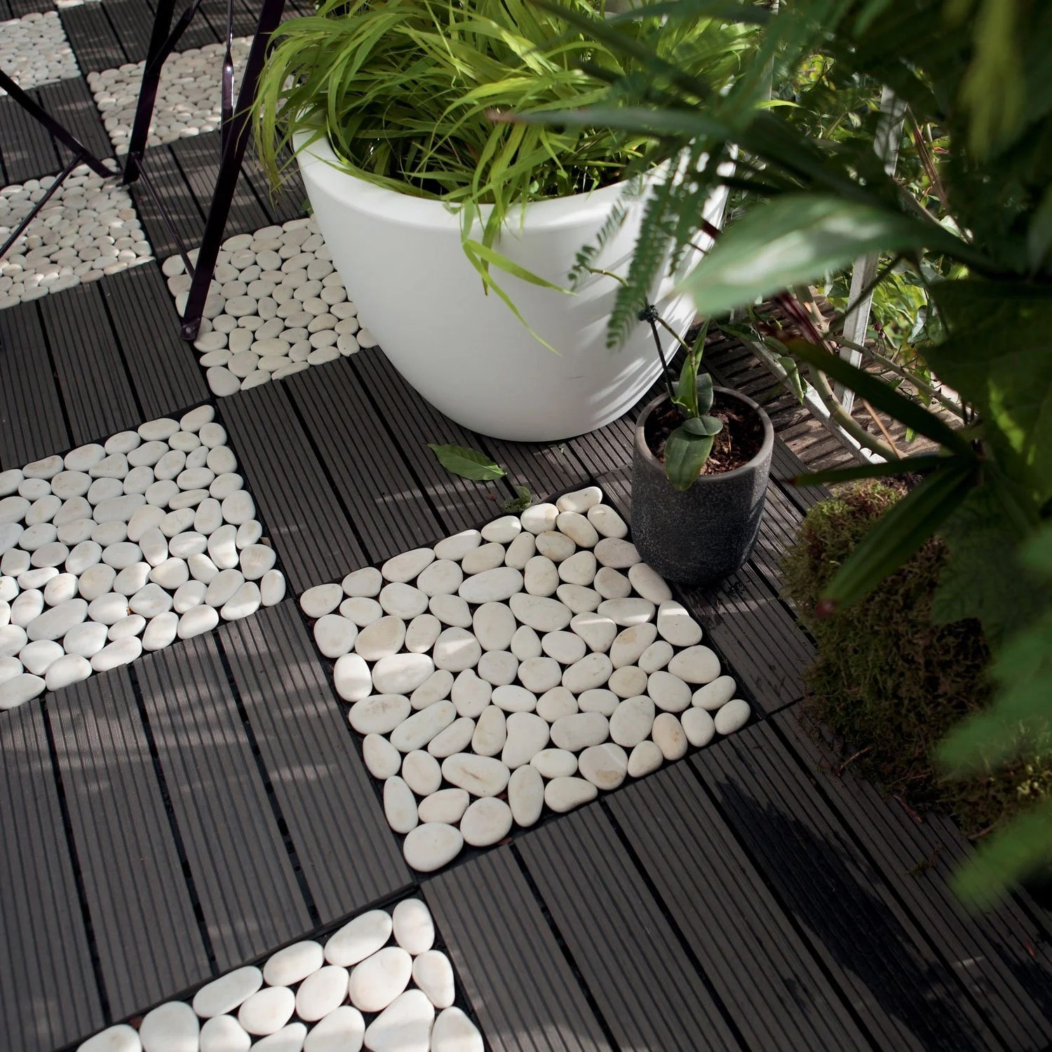 Lame Terrasse Clipsable Dalle Clipsable Composite, Gris, L.30 X L.30 Cm X Ep.23 Mm