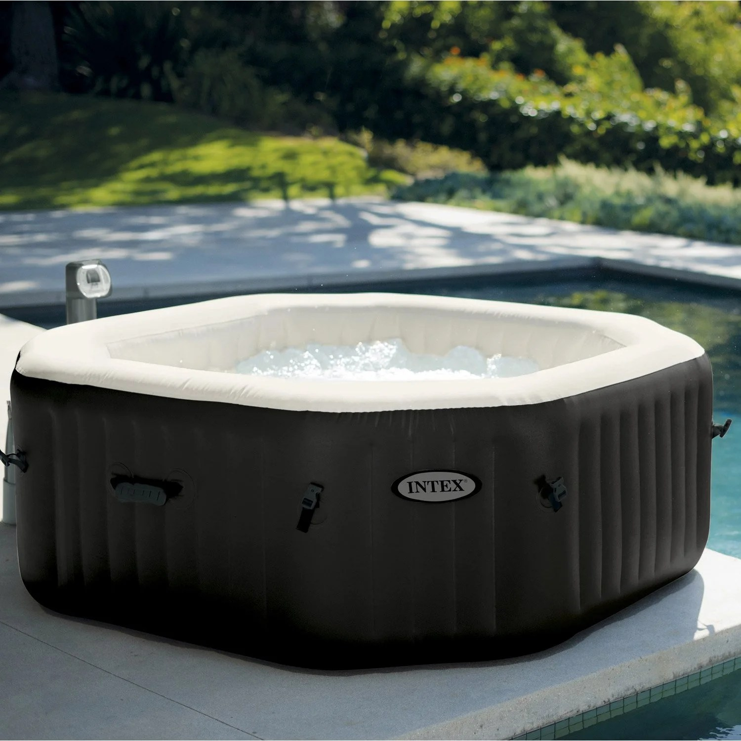 Mini Jacuzzi Exterieur Spa Gonflable Intex Pure Spa Jets Bulles Octogonale 4 Places Assises
