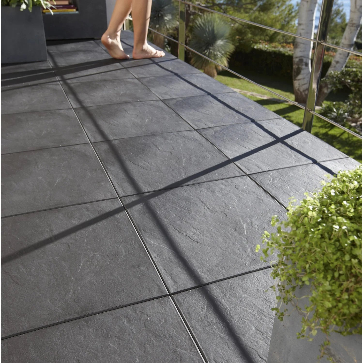 Dalles Terrasse Exterieur Ardoise Dalle Clipsable Polypropylène Easy Aspect Ardoise L 38 X L 38 Cm X Ep 25 Mm