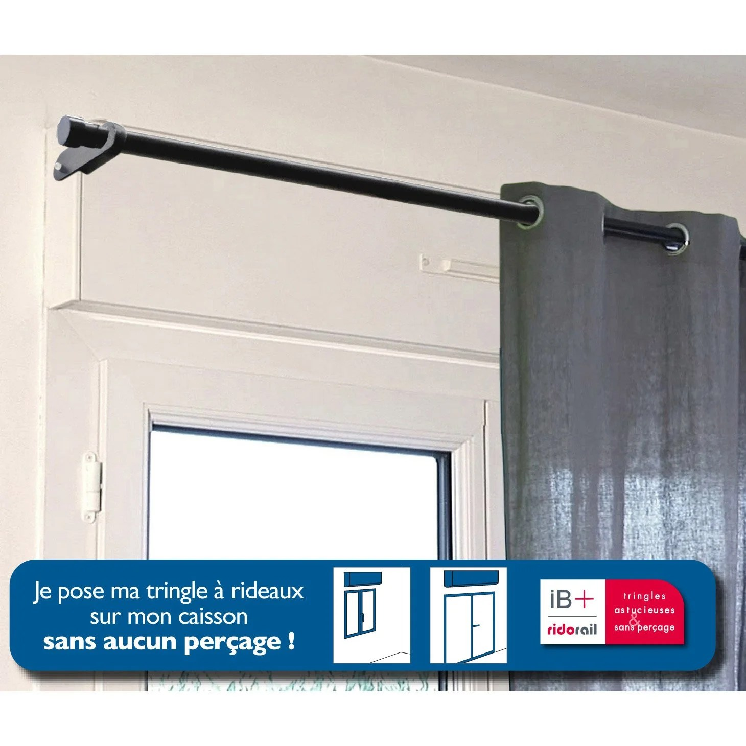 Fenetre Pvc Oscillo Battant Leroy Merlin Support Sans Perçage Tringle à Rideau Ib+, 25 Mm Noir Mat
