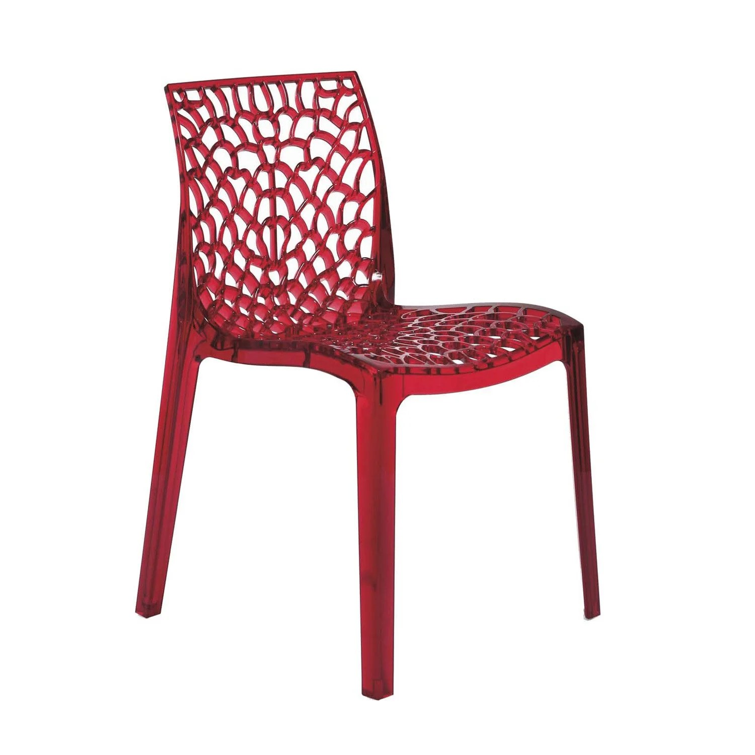 Chaises En Polycarbonate Chaise De Jardin En Polycarbonate Grafik Rouge Transparent
