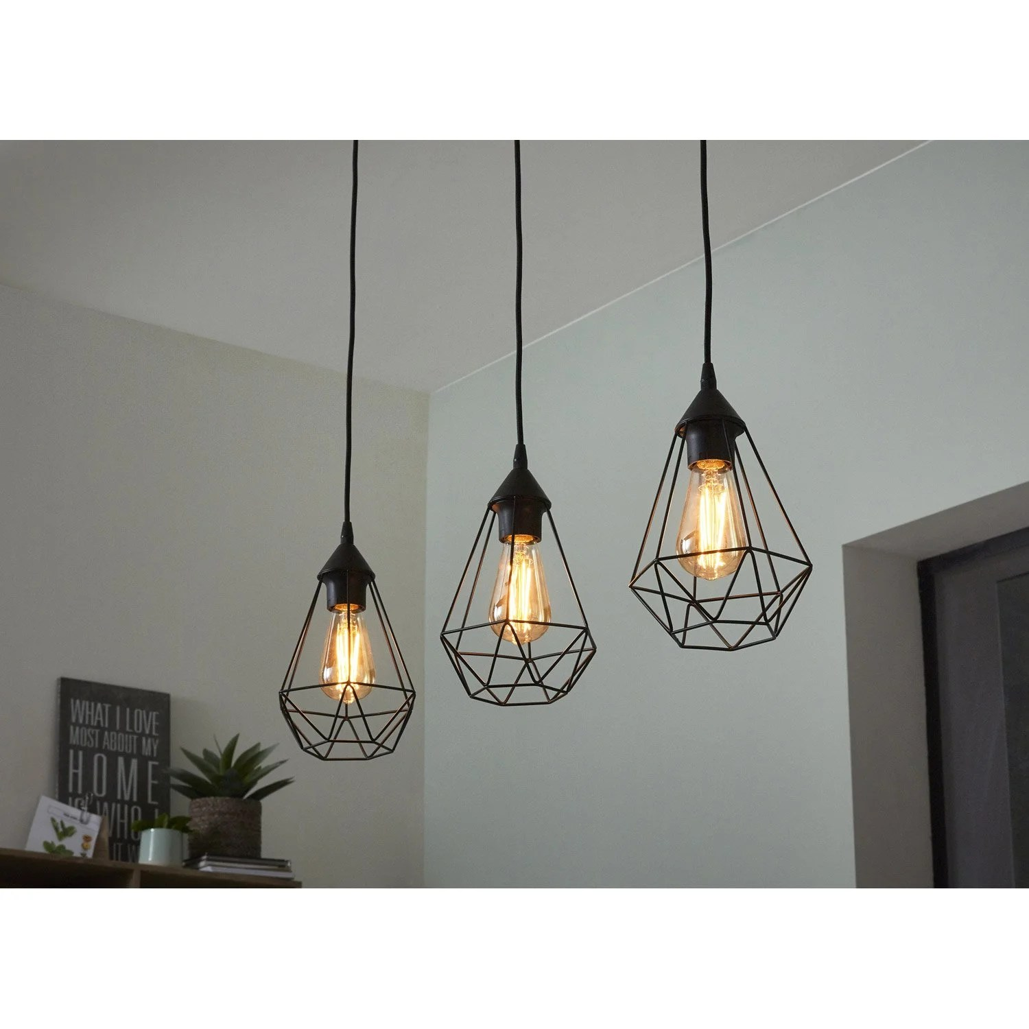 Lampe Suspension Style Industriel Suspension E27 Style Industriel Byron D17 5 Métal Noir 3 X 60 W Inspire