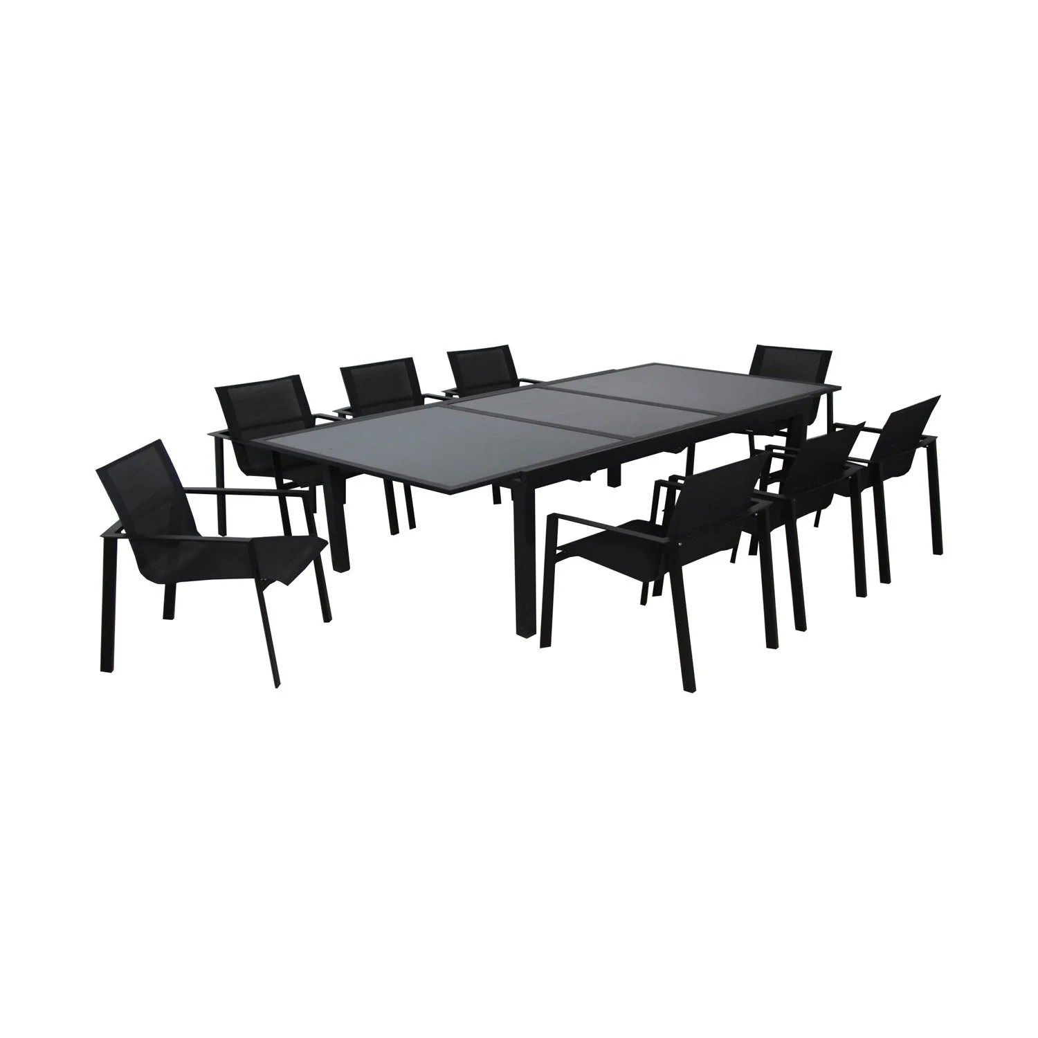 Table Exterieur Rallonge Table De Jardin Miami Rectangulaire Noir 8 Personnes