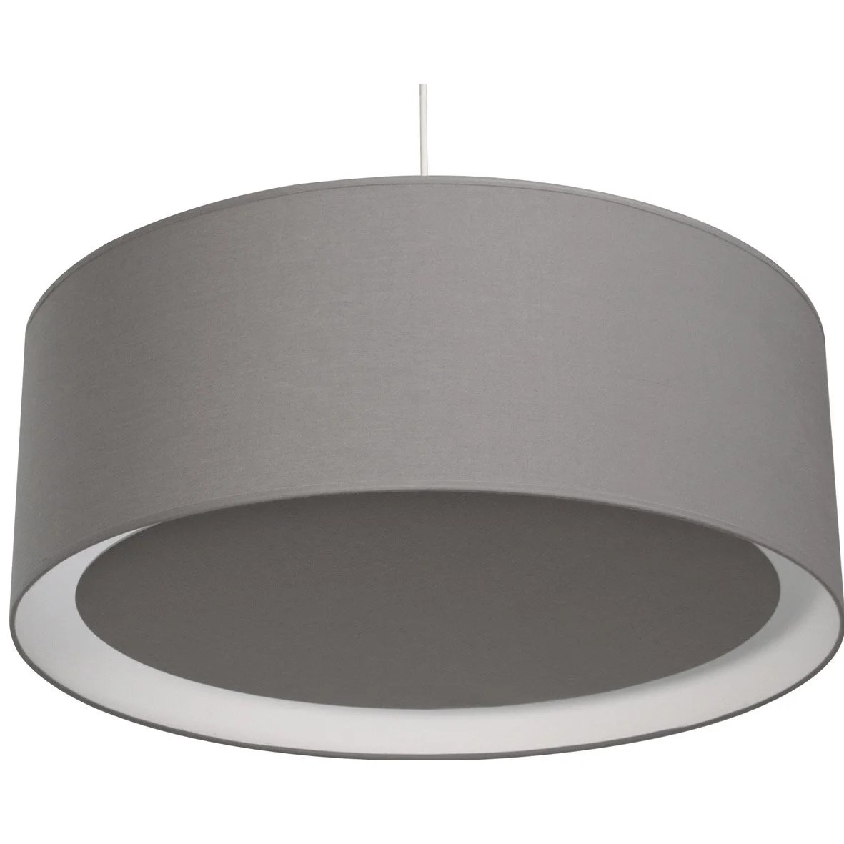 Suspension Luminaire Diamètre 60 Cm Suspension E27 Moderne Essentiel Coton Gris Galet N3 1 X 60 W Inspire