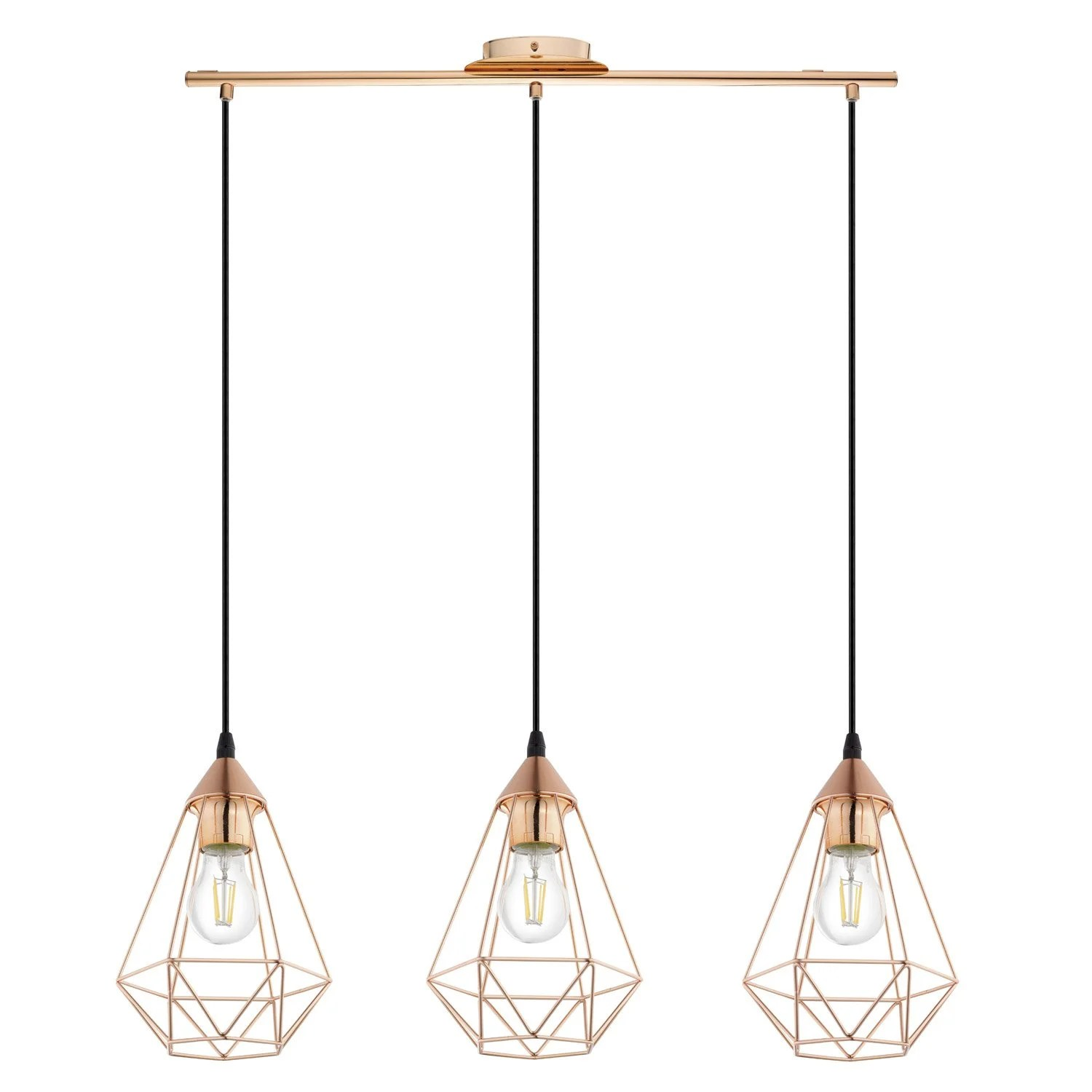 Luminaire Inspire Leroy Merlin E27 Suspension Industrial Style Byron D17 5 Metal Copper 3 X 60 W Inspire