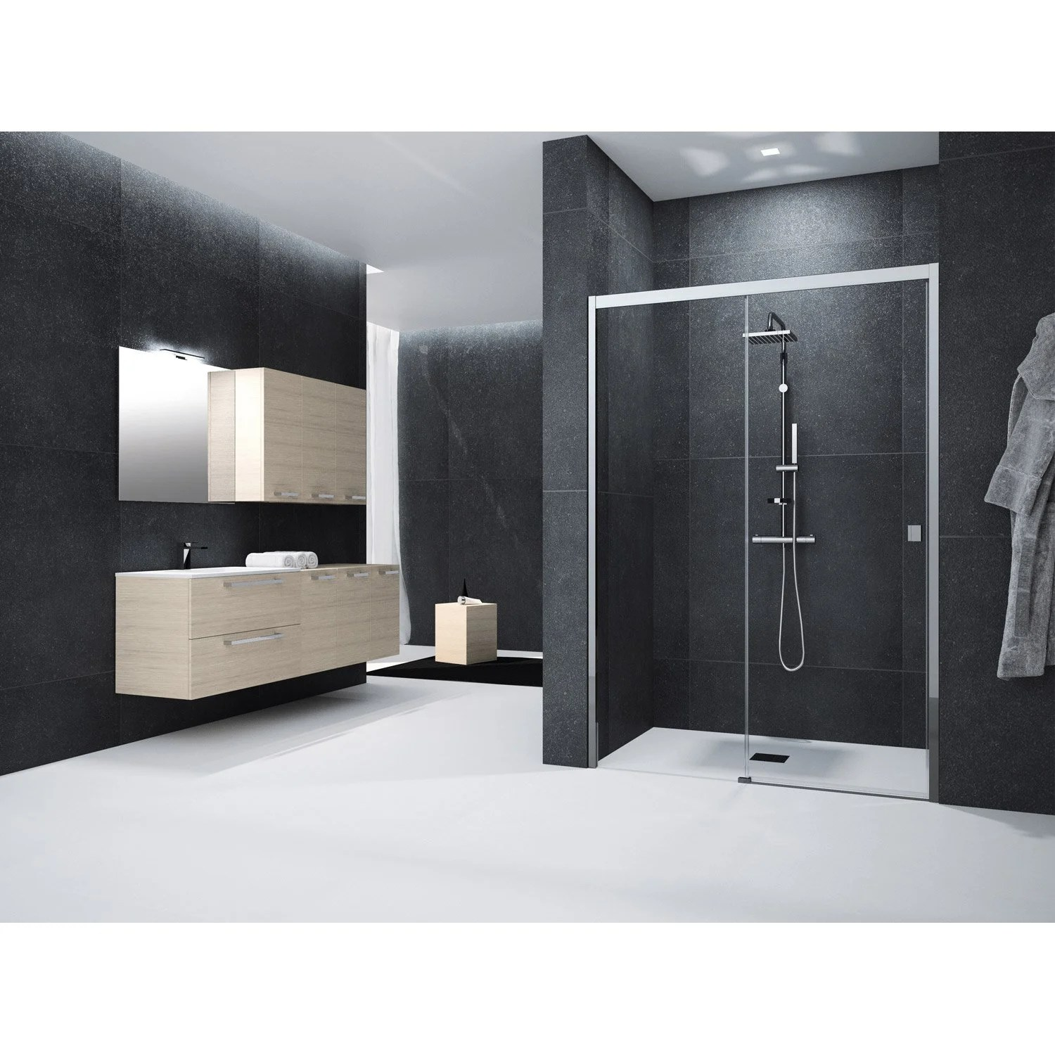 Porte Coulissante Magasin Porte De Douche Coulissante 140 Cm Transparent Neo