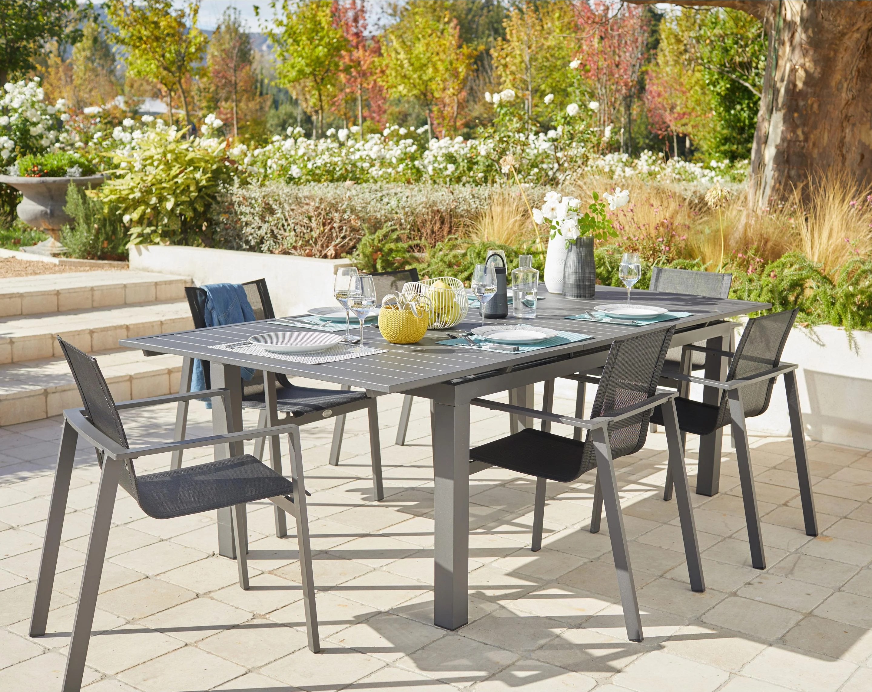 Table Jardin Salon De Jardin Miami Aluminium Gris Anthracite 6 Personnes