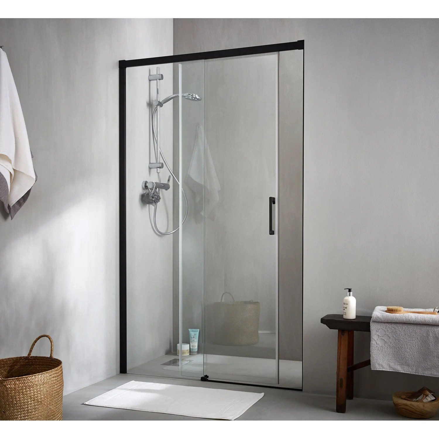 Porte Coulissante Magasin Porte De Douche Coulissante 120 Cm Transparent Remix