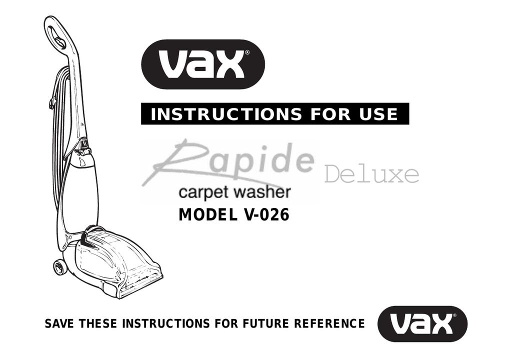 Vax V 027 Rapide Xl Carpet Cleaner Manual Carpet Vidalondon