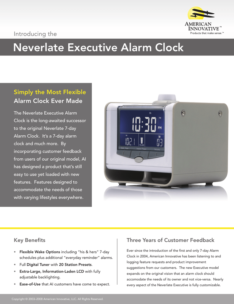 American Made Alarm Clock Neverlate Executive Alarm Clock Simply The Most Flexible Alarm