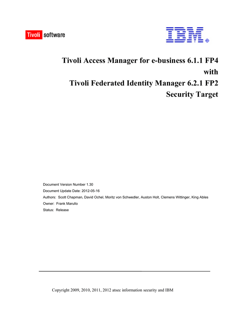 Tivoli Access Manager Session Management Server Security Target 0636b Pdf Manualzz
