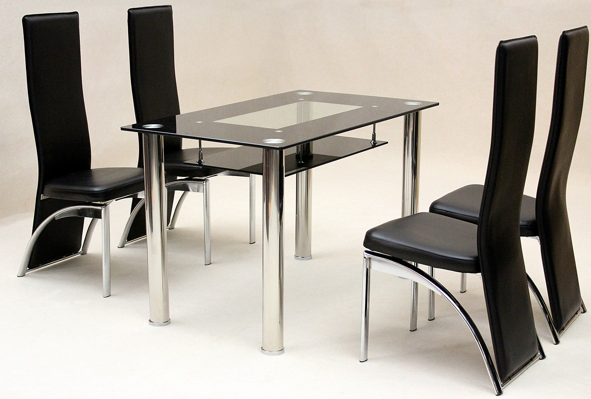 Dining Table With Shelf Underneath Dining Kitchen Table Black And Clear Tempered Glass Under
