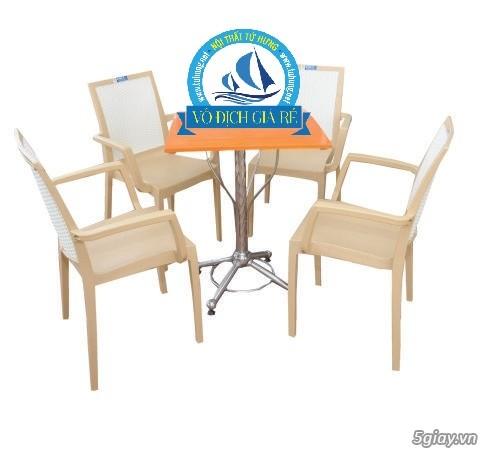 bộ bàn cafe sân vườn inox nhựa