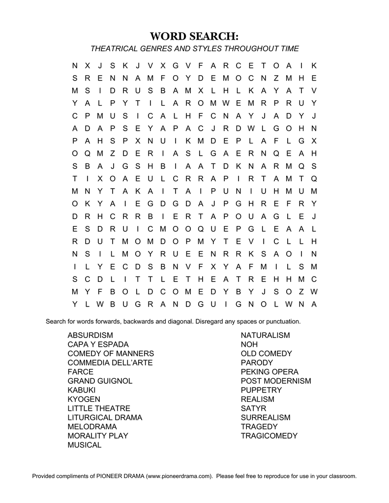 Commedia Dell'arte Word Meaning Theatrical Genres And Styles Throughout Time Word Search