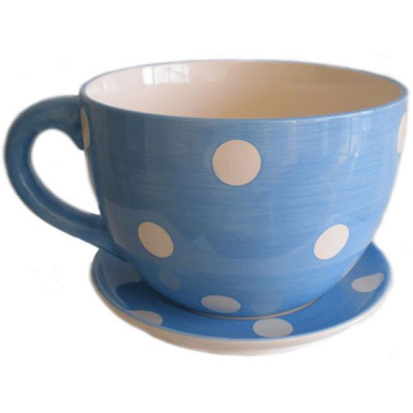 Giant Blue And White Spot Tea Cup And Saucer Planter