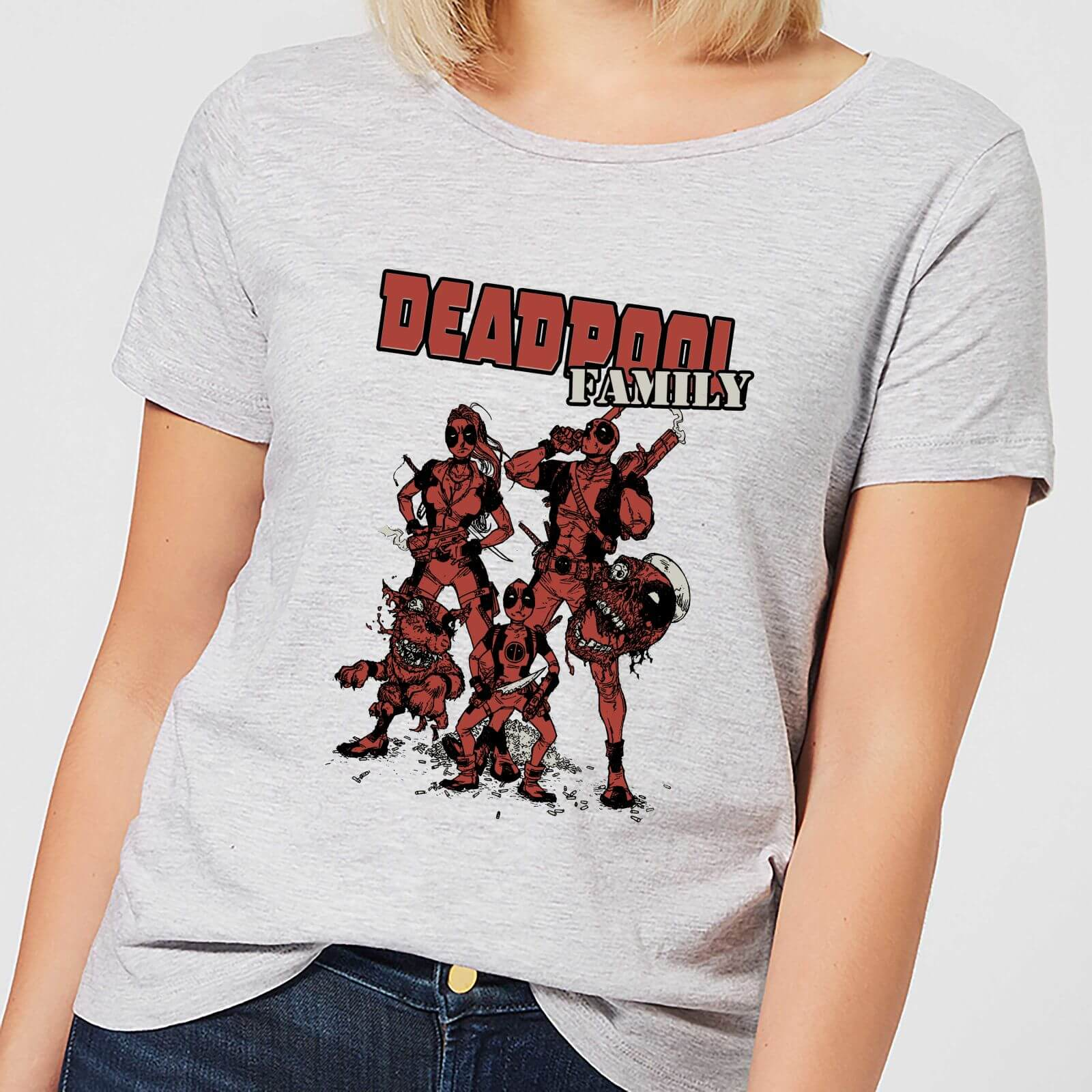 Deadpool Bettwäsche Marvel Deadpool Family Group Damen T Shirt Grau