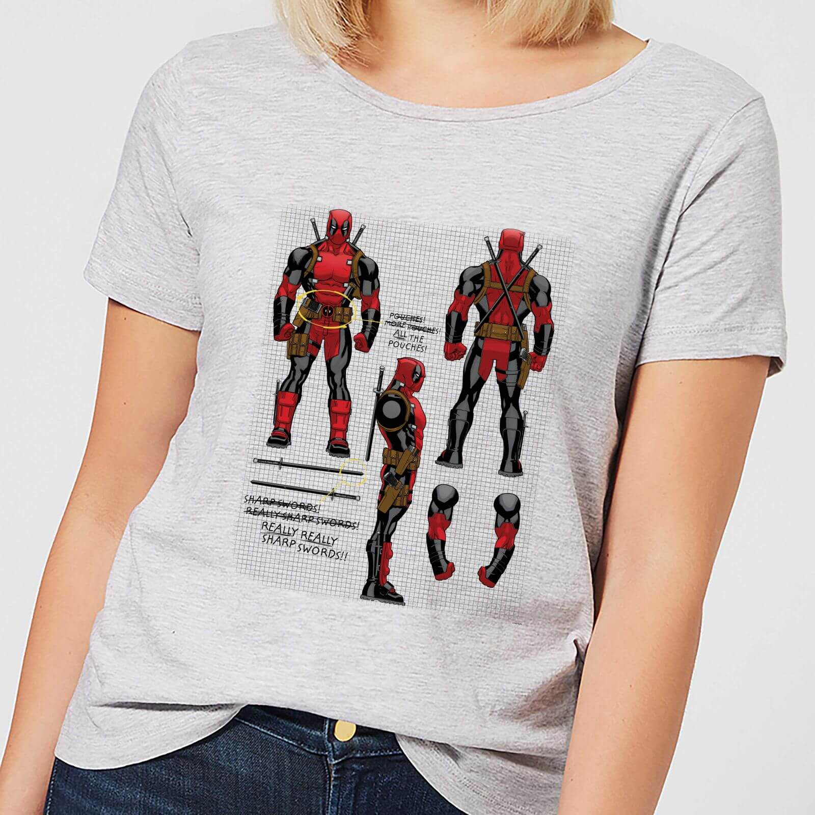 Deadpool Bettwäsche Marvel Deadpool Action Figure Plans Damen T Shirt Grau