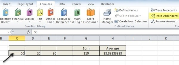 How to Trace Dependents in Excel - creating formulas in excel
