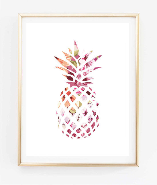 Cute Girly Wallpaper For Bedroom Floral Pineapple Painting Art Print Room Decor Typographic