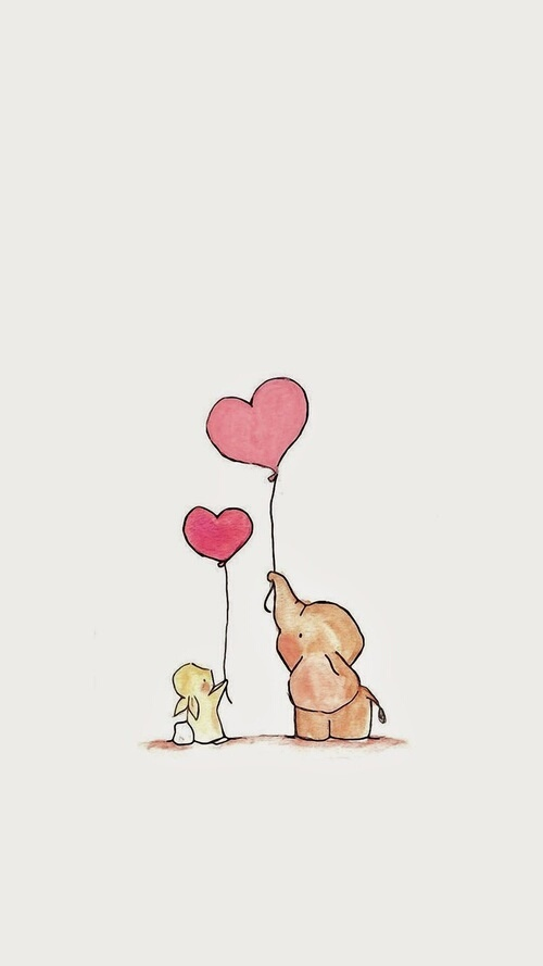 Cute Elephant Cartoon Wallpapers Balloon Bunny Elephant Heart Iphone Wallpaper Image