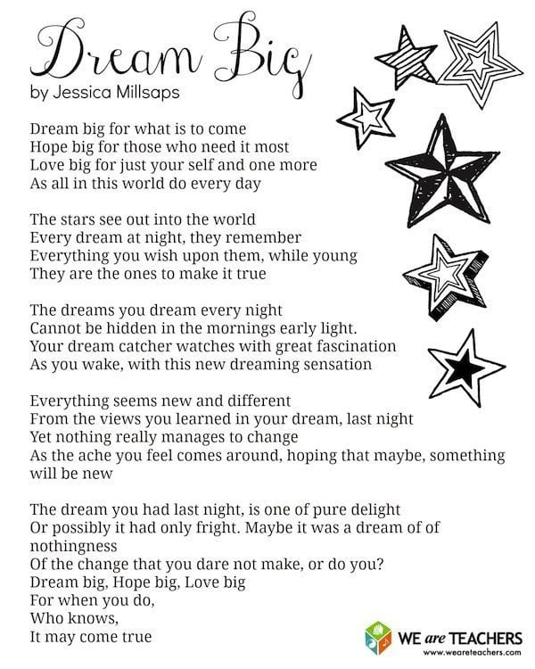 Printable Dream Big Poem - WeAreTeachers