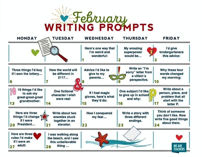 Free Download February Writing Prompts Calendar