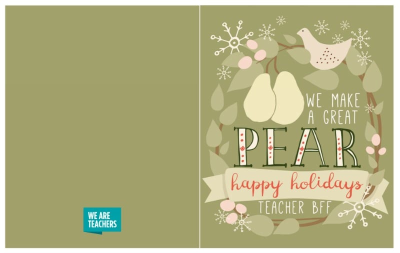 Printable Holiday Cards for Coworkers, Students,  Parents