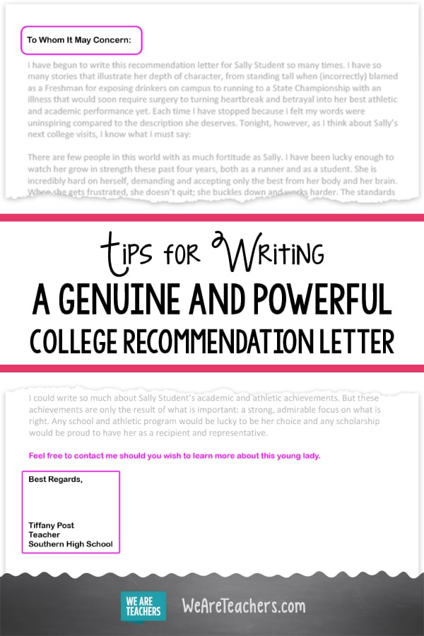 Tips for Writing A College Recommendation Letter - WeAreTeachers