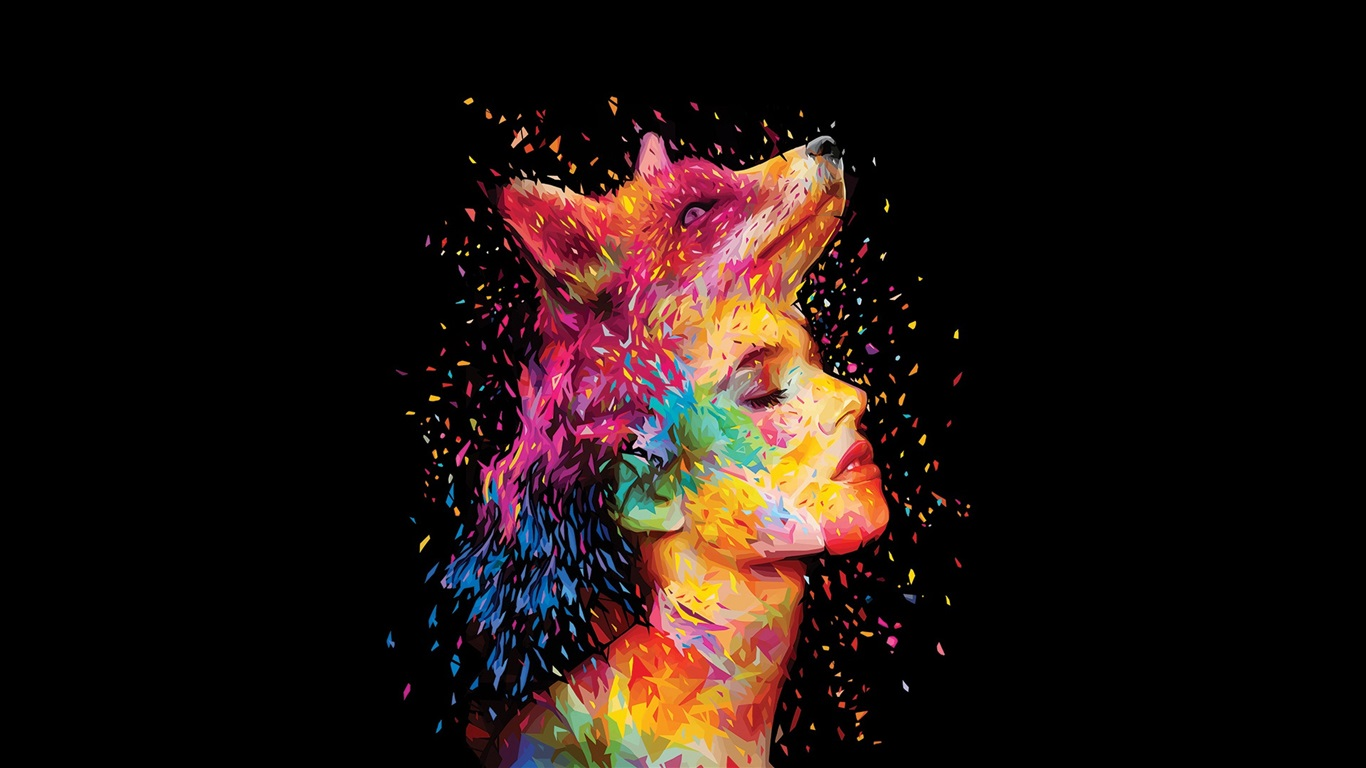 Abstract Fox Art Wallpaper Abstract Design Fox Girl Face Painting
